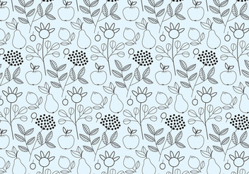 Outline Fruits Pattern - vector gratuit #378051