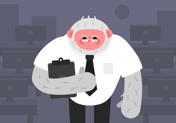 Vector Yeti in Office - vector gratuit #378081