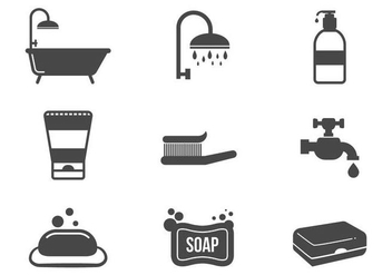 Free Bathroom Icons Vector - vector gratuit #378101