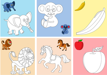 Coloring Fruits and Animals Pages - Free vector #378171