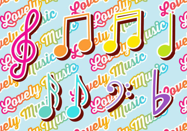 Colorful Violin Key and Music Notes Set - бесплатный vector #378291