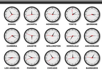 Time Zone Clock - vector #378341 gratis
