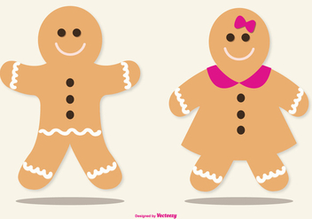 Cute Lebkuchen/Gingerbread Illustrations - vector gratuit #378351