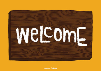 Woodgrain Welcome Sign Vector - vector gratuit #378421