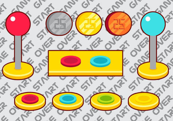 Arcade Button Vector Elements Set A - vector gratuit #378501