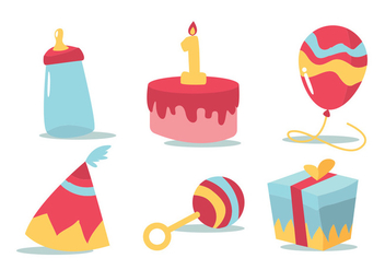 Birthday Vector Set - vector gratuit #378571