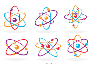 Colorful Atom Icons - vector gratuit #378581