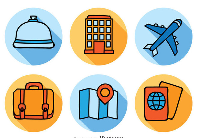Hotel and Travel Icons Set - Free vector #378601