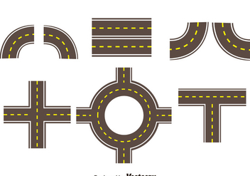 Roads Collection Set Vector - vector gratuit #378611