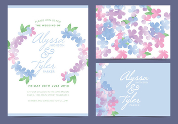 White Floral Vector Wedding Invite - vector #378711 gratis