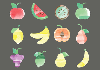 Vector Watercolor Fruits - vector gratuit #378791