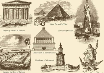 Seven Wonders Of The World - vector gratuit #378841