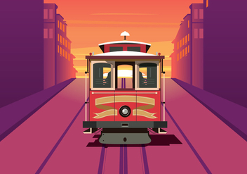 Cable Car Sunset Background - vector gratuit #378851