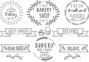 Cute Hand Drawn Style Bakery Label Set - Kostenloses vector #378891