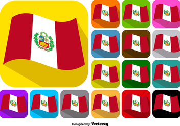 Vector Set Of Buttons Of Peru Flag - Free vector #378971