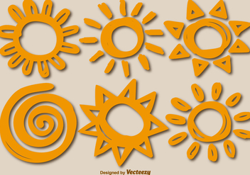 Six Vector Hand-Drawn Suns - Free vector #378981