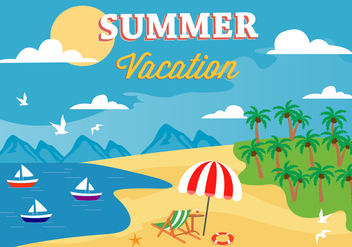 Free Summer Beach Vector Illustration - бесплатный vector #379171