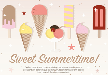 Free Flat Ice Cream Vector Illustration - Free vector #379181