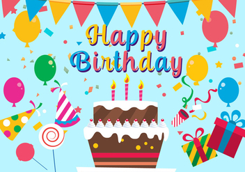 Free Happy Birthday Vector Illustration - Kostenloses vector #379191