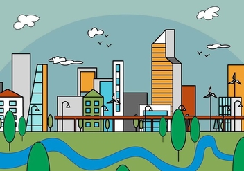 Free Linear City Vector Illustration - Free vector #379201