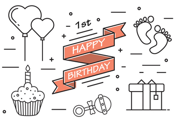 1st Birthday in Vector - vector #379281 gratis