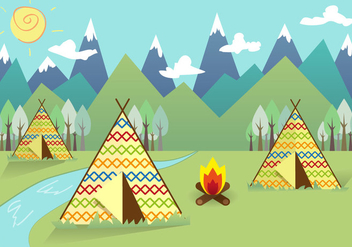 Tipi Indian Landscape Background Vector - vector #379431 gratis