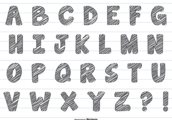 Cute Scribble Style Vector Alphabet - Kostenloses vector #379561