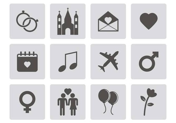Free Wedding Icons Vector - vector gratuit #379641