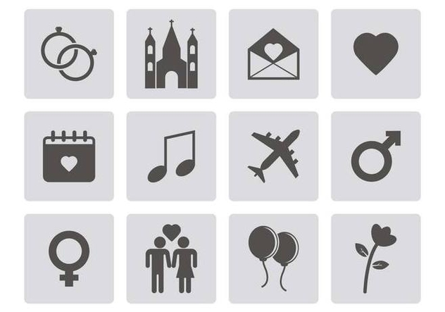 Free Wedding Icons Vector - Free vector #379641