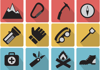 Set icons of camping and mountaineer - vector #379691 gratis