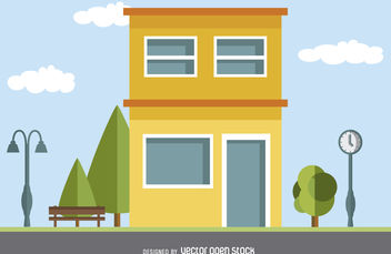 Modern house drawing - vector gratuit #379801