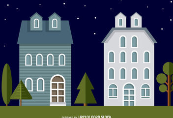 Neighbourhood houses illustration - бесплатный vector #379831