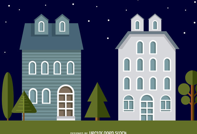 Neighbourhood houses illustration - Free vector #379831