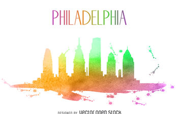 Philadelphia watercolor skyline silhouette - бесплатный vector #379891