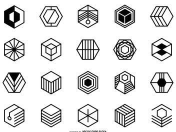 Hexagonal logo set - vector gratuit #379921