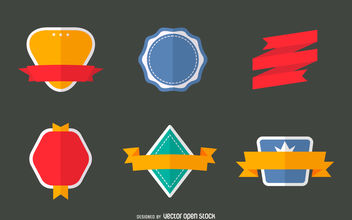 Flat badge set - vector gratuit #380061
