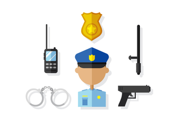 Vector Police Man and Elements - vector gratuit #380431