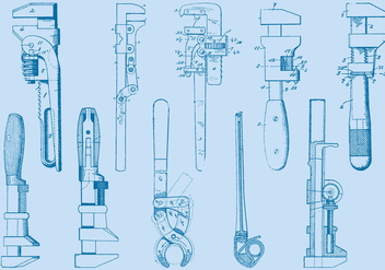 Wrench Tool Drawings - vector gratuit #380571