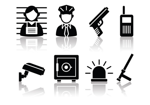 Free Minimalist Police And Crime Icon Set - Kostenloses vector #380601
