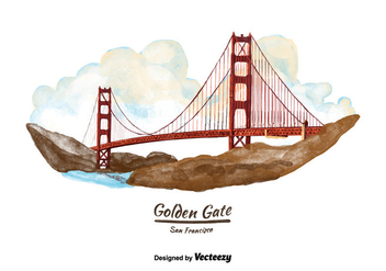 Free San Francisco Golden Gate Bridge Watercolor Vector - vector gratuit #380611