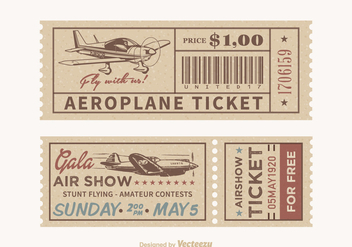 Free Vector Retro Airplane Tickets - Kostenloses vector #380711
