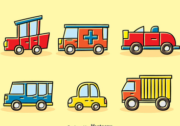 Cartoon Vehicle Vector Set - бесплатный vector #380891