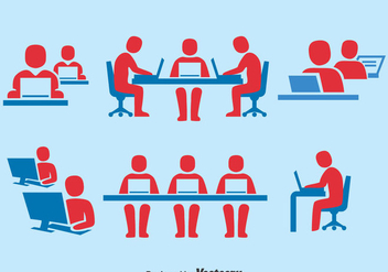 People Working Together Icons Set - vector #380941 gratis