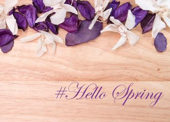 Hello Spring: postcard from the petals of lavender and orchids - бесплатный image #381021