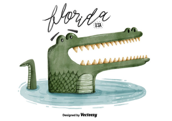 Free Florida Alligator Watercolor Vector - бесплатный vector #381051