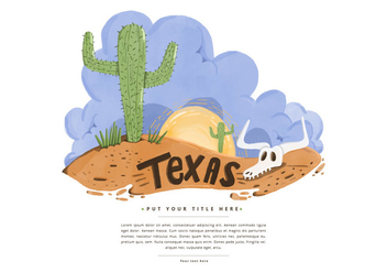 Free Texas Desert Watercolor Vector - бесплатный vector #381281