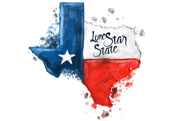 Free Texas Map Watercolor Vector - Free vector #381381