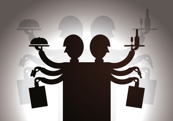 Free Waiter Shadow Puppet Vector Illustration - Free vector #381391