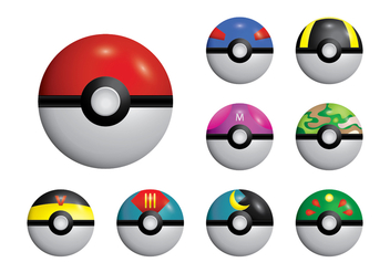 Poke Ball Set Vector - vector gratuit #381481