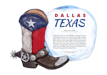 Free Texas Boot Watercolor Vector - vector gratuit #381491